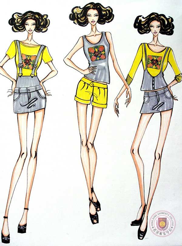 女时装手绘效果图作品 女时装手绘效果图款式图