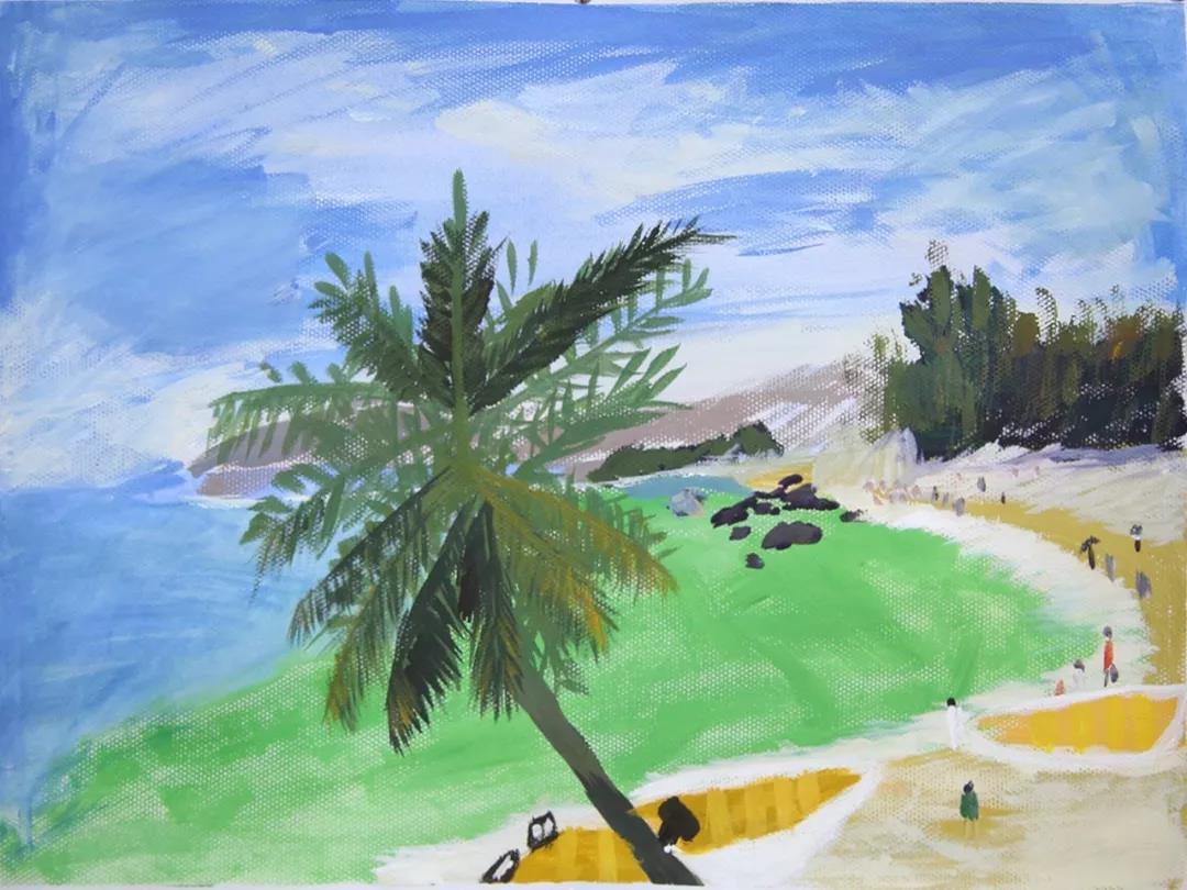 风景画三幅               教师点评: 用笔潇洒大方,色感极好,据说